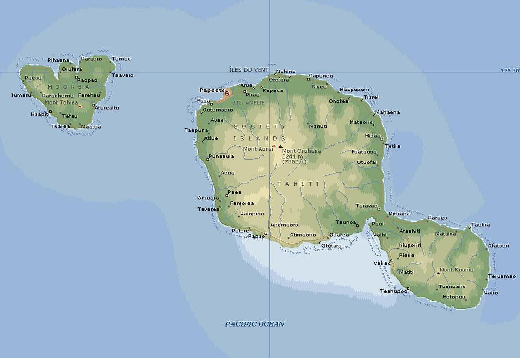 Tahiti Islands On World Map, Map of Bora Bora (Island in French ...